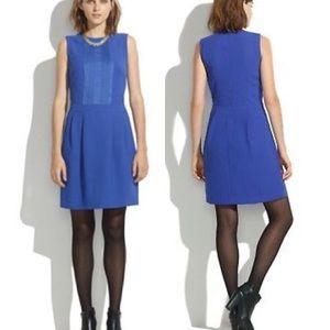 Madewell Blue Tuxedo Pleat Front Dress 8